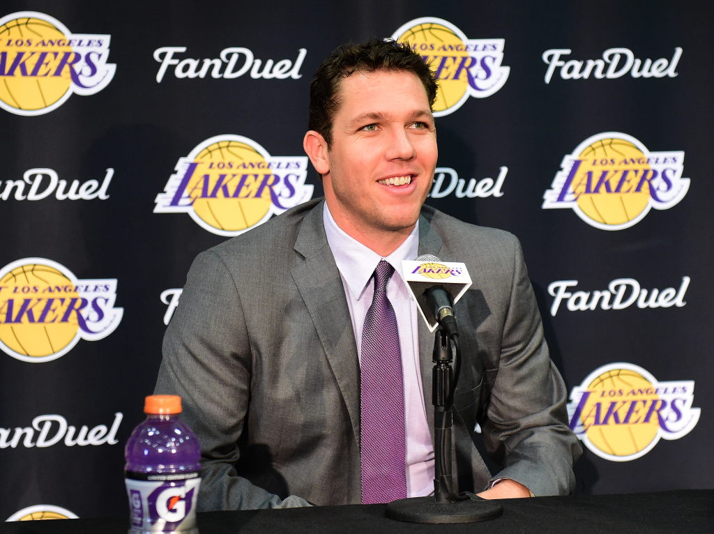 Luke Walton speaks to the press as he is introduced as the new head coach becoming the 26th Los Angeles Laker head coach at Toyota Sports Center on June 21, 2016 in El Segundo.