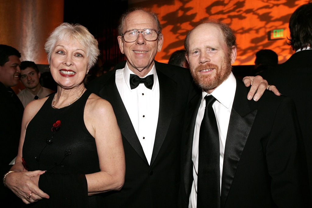 Filmmaker Ron Howard (R) and parents Rance Howard (C) and Judy O Sullivan attend the 56th Annual ACE Eddie Awards cocktail reception held at the Beverly Hilton Hotel on February 19, 2006.