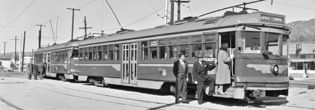PE No. 5063 - Glendale Line. Burbank terminal. 1st day of 1-man service. Left: J. C. Jeffreys, President Burbank Chamber of Commerce. Center: George Pardon, President Burbank Jr Chamber of Commerce. Right: Ade Banks, Burbank Times staff. 1/7/1950.