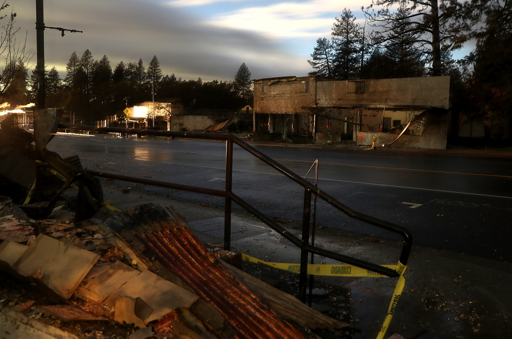 A view of a business that was destroyed by the Camp Fire on November 21, 2018 in Paradise, California.