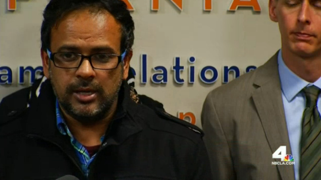 File: A screenshot of Farhan Khan, brother-in-law of San Bernardino shooting suspect Syed Rizwan Farook, at a press Council on American-Islamic Relations press conference in Anaheim.