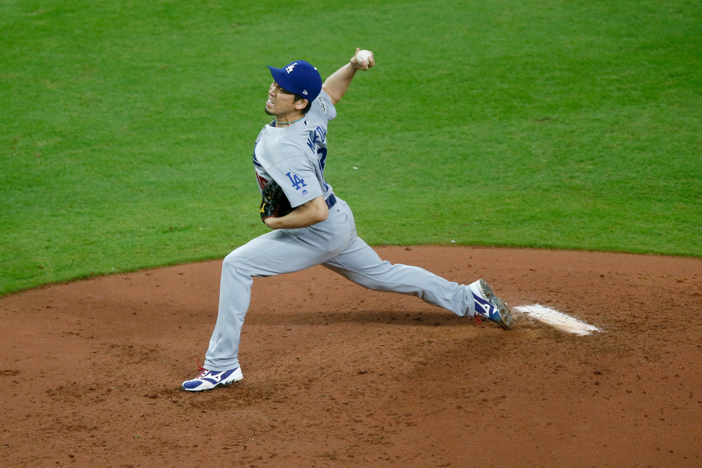 Kenta Maeda (#18) of the Los Angeles Dodgers throws a pitch during the third inning against the Houston Astros in Game 3 of the 2017 World Series on October 27, 2017 in Houston, Texas.