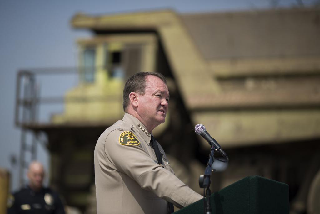 Los Angeles County Sheriff Jim McDonnell addresses a news conference at the Los Angeles County Sheriffs' 22nd annual gun melt at Gerdau Steel Mill on July 6, 2015 in Rancho Cucamonga, California.