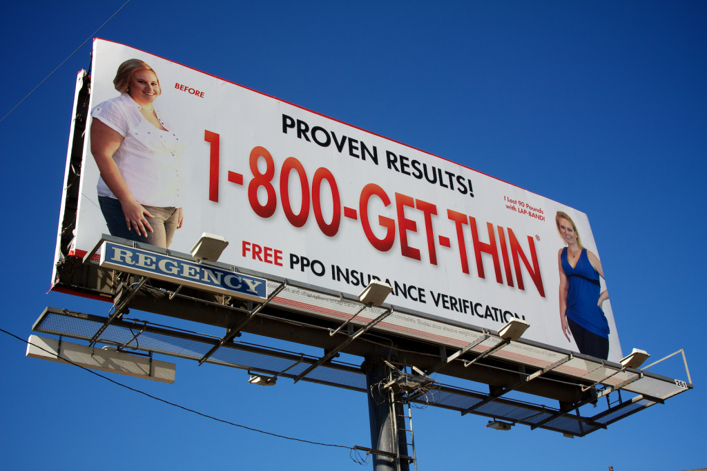 A billboard for the Lap Band over the 210 freeway. A second large California health insurer is investigating possible medical fraud by a group of popular weight-loss surgery centers.