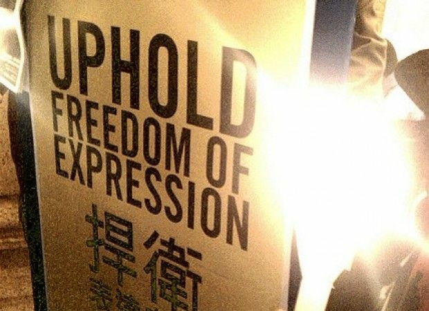 From a sign held up in Hong Kong, January 2010