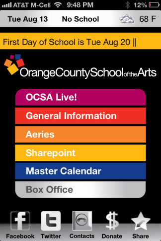 A screenshot of The Orange County School of the Arts' iPhone app.