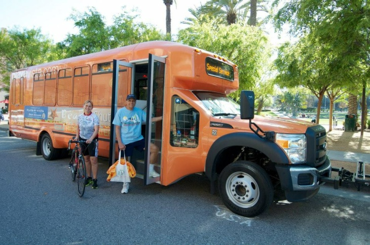 The Playa Vista Beach Shuttle runs on weekends and Fridays and fits strollers and bicycles, too.