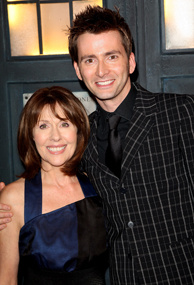 Actors Elisabeth Sladen and David Tennant attend the gala screening of the 'Doctor Who' Christmas episode at the Science Museum on December 18, 2007 in London, England.