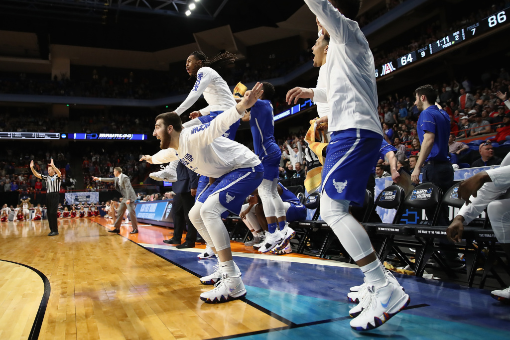 The Buffalo Bulls bench reacts in the second half against the Arizona Wildcats during the first round of the 2018 NCAA Men's Basketball Tournament at Taco Bell Arena on March 15, 2018 in Boise, Idaho.