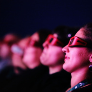 """Audience watch through 3D glasses attends the """"Premio Persol 3D Award & The Hole"""" premiere at the Sala Grande during the 66th Venice Film Festival on September 11, 2009 in Venice, Italy."""