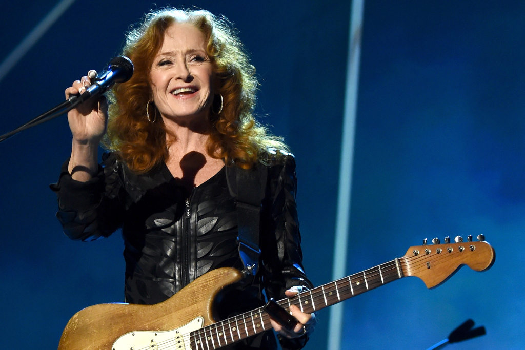 Musician Bonnie Raitt performs onstage at the 25th anniversary MusiCares 2015 Person Of The Year Gala honoring Bob Dylan at the Los Angeles Convention Center on February 6, 2015 in Los Angeles, California.