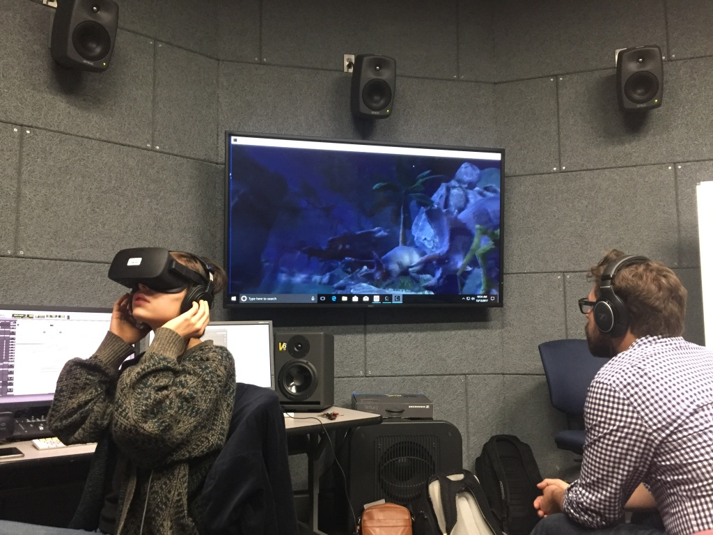 CalArts student Sara Suarez walks her classmates and her instructor through a virtual reality environment that she designed the sound for.