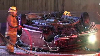 An SUV that crashed during a police chase on the northbound 5 Freeway east of Downtown Los Angeles on February 1, 2013.