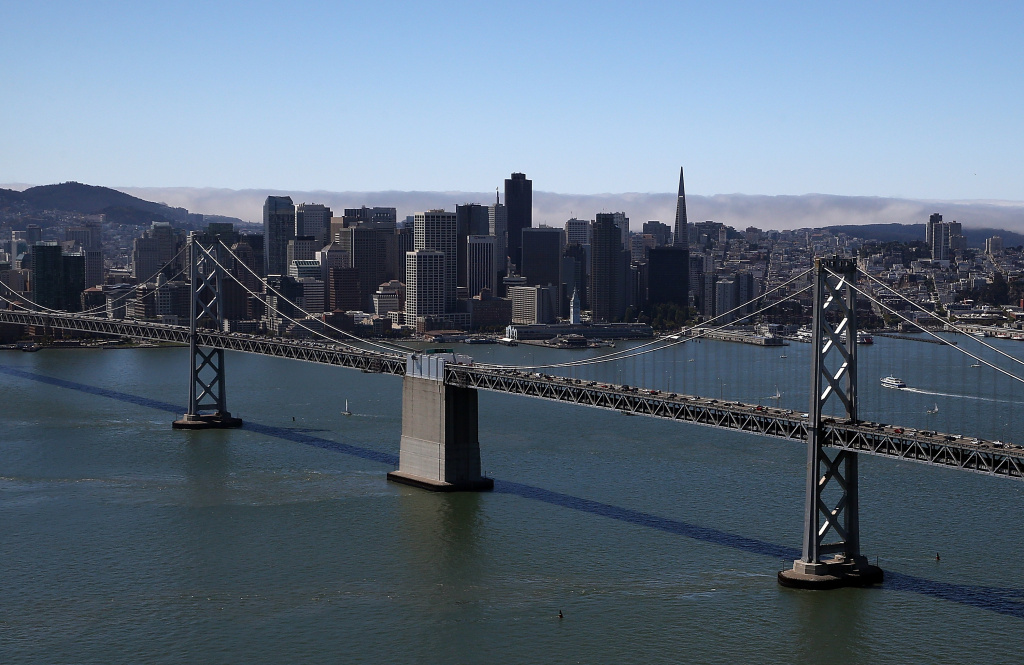 A view of downtown San Francisco and the western span of the San Francisco-Oakland Bay Bridge on Sept. 8, 2013 in San Francisco, California.