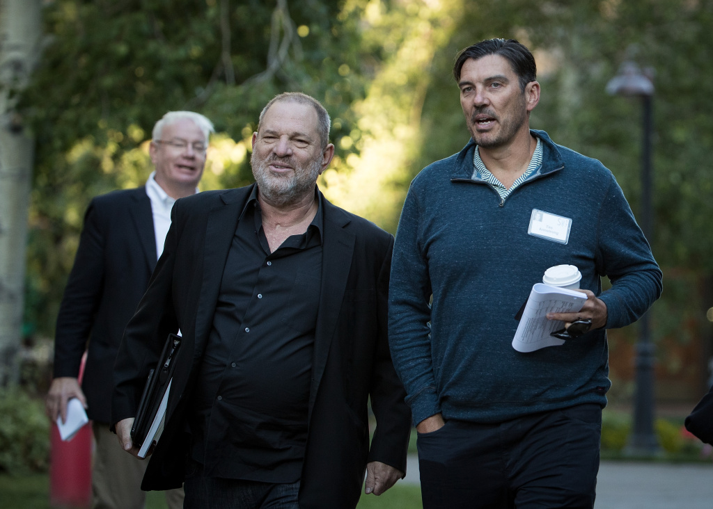 Harvey Weinstein and Tim Armstrong, chief executive officer of AOL Inc., attend the annual Allen & Company Sun Valley Conference on July 12, 2017 in Sun Valley, Idaho.