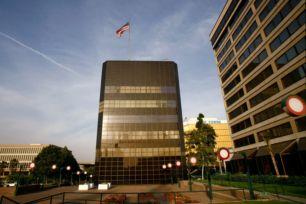 San Bernardino City Hall on May 14, 2008 in San Bernardino, California. The city is facing deep economic problems.