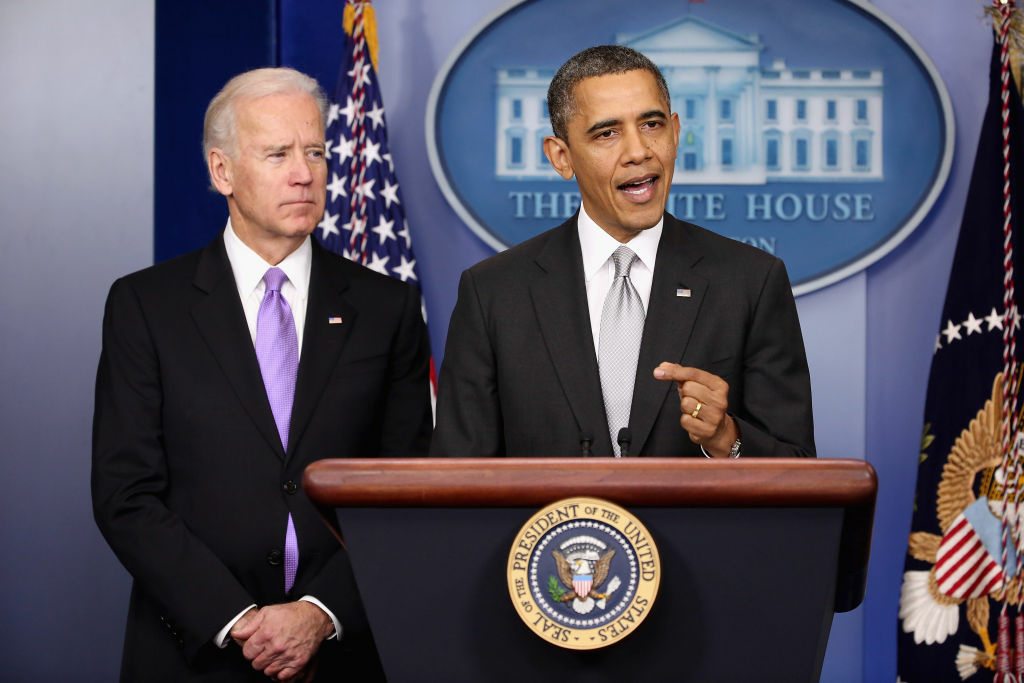 U.S. President Barack Obama (R) announces the creation of an interagency task force for guns as Vice President Joseph Biden listens in the Brady Press Briefing Room at the White House on December 19, 2012 in Washington, DC. President Obama announced that he is making an administration-wide effort to solve gun violence and has tapped Vice President Joe Biden to lead an interagency task force in the wake of the Sandy Hook Elementary School shooting in Newtown, Connecticut.