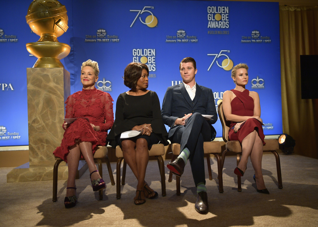 LOS ANGELES, CA - DECEMBER 11: (L-R) Sharon Stone, Alfre Woodard, Garrett Hedlund, and Kristen Bell attend the 75th Annual Golden Globe Nominations Announcement on December 11, 2017 in Los Angeles, California.  (Photo by Matt Winkelmeyer/Getty Images)