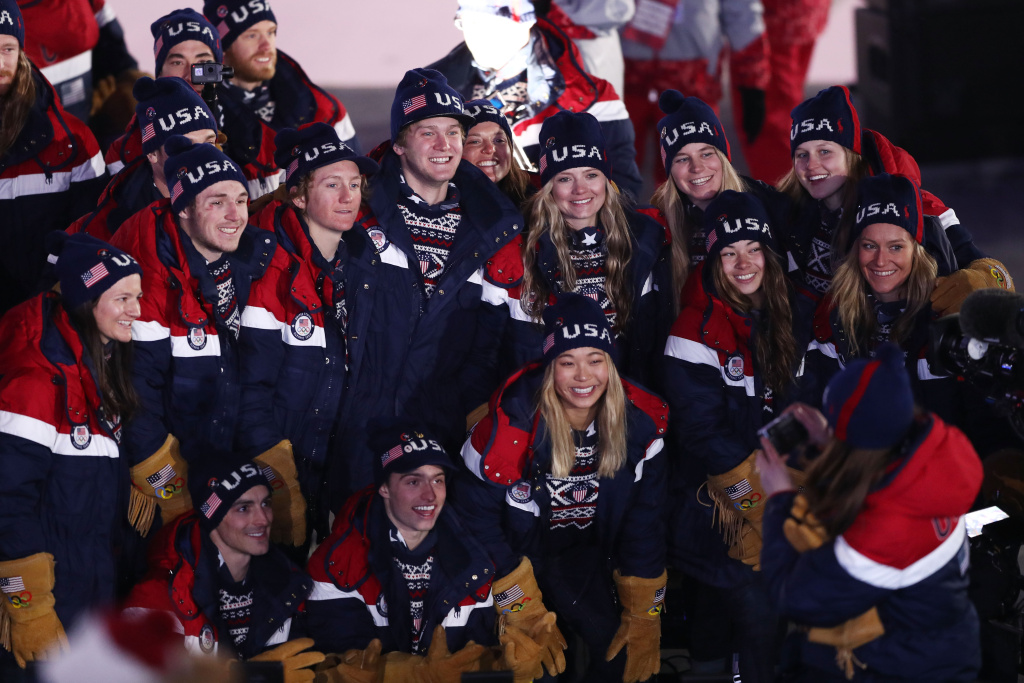 Members of the U.S. team attend the Opening Ceremony of the PyeongChang 2018 Winter Olympic on February 9, 2018.