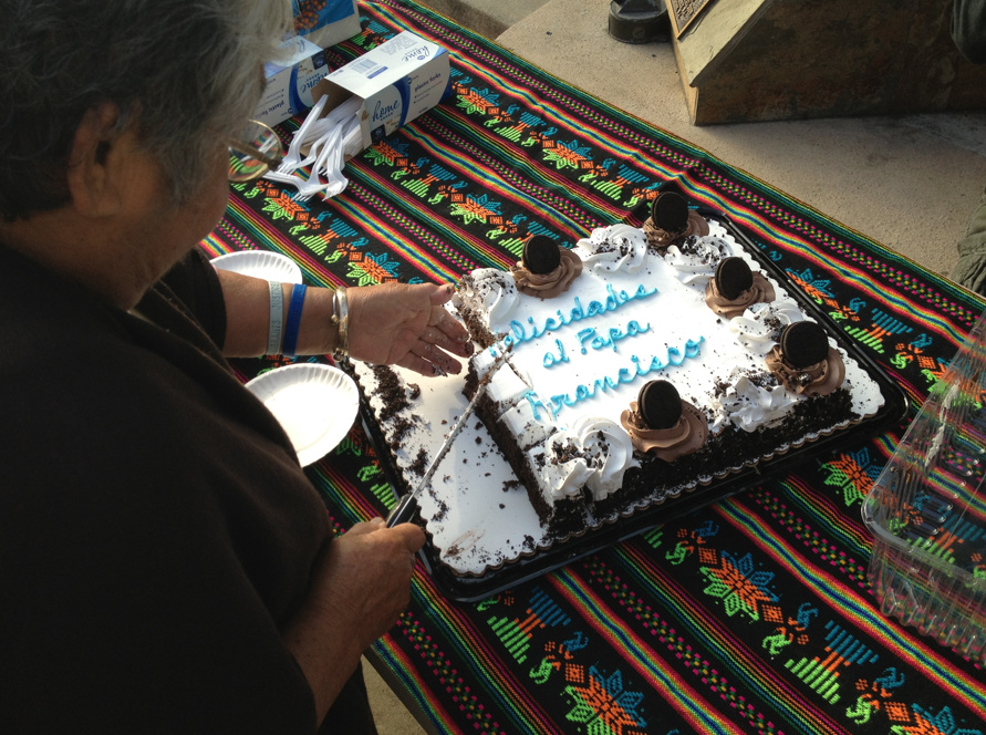 Parishioners at Dolores Mission Church in Boyle Heights celebrate the new pope with chocolate cake after morning mass.