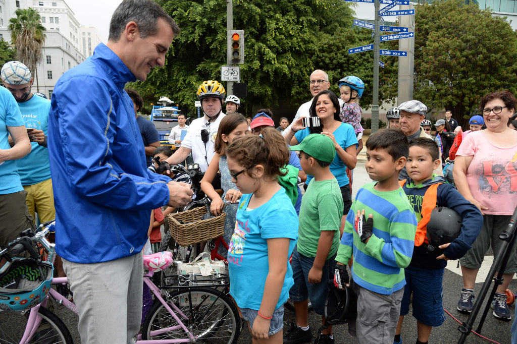 Mayor Eric Garcetti participating in CicLAvia.