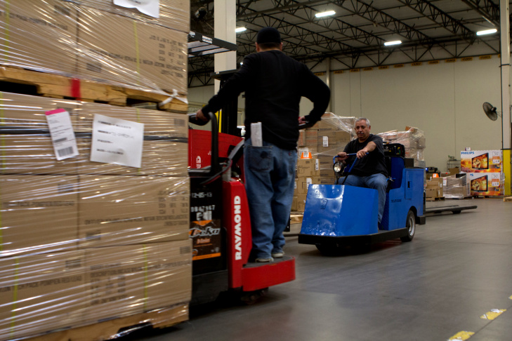 An overview of Ingram Micro's pick module area at their Advanced Logistics Center in Mira Loma, Calif., Tuesday, November 20, 2012.