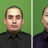 Officer Rafael Ramos (left) and Wenjian Liu (right), who were killed on Saturday after being ambushed by a gunman in a Brooklyn neighborhood.
