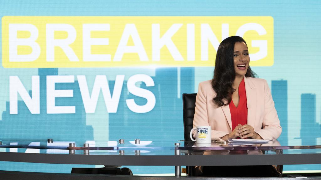 Sarah Cooper delivers the news in her special <em>Everything's Fine</em>.