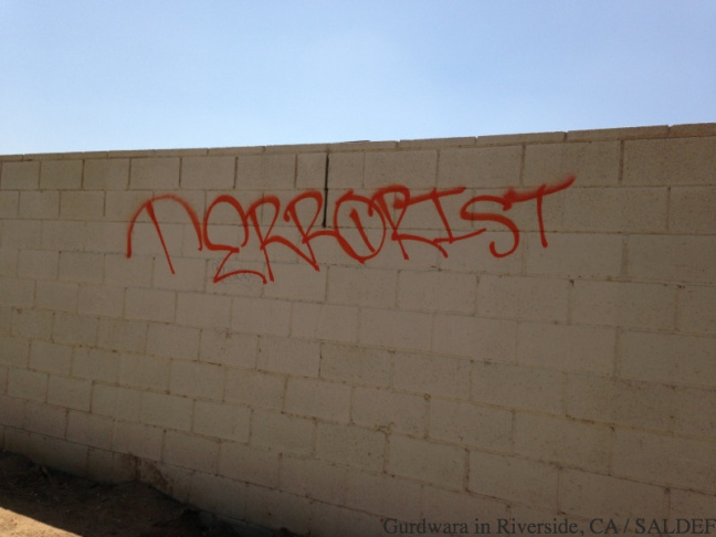 The Riverside County Sheriff's Department is looking for whoever vandalized a Sikh temple in Riverside with the word 'terrorist.'