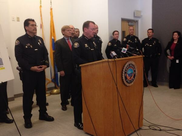 Long Beach Police Chief Jim McDonnell announces record low violent crimes in Long Beach in 2013.