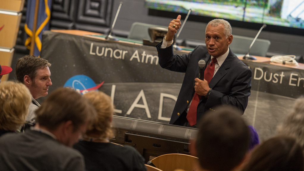 NASA Administrator Charles Bolden speaks before Friday night's launch of the LADEE moon orbiter. The craft has run into a small technical issue, NASA says, which it will fix before it arrives at the moon next month.