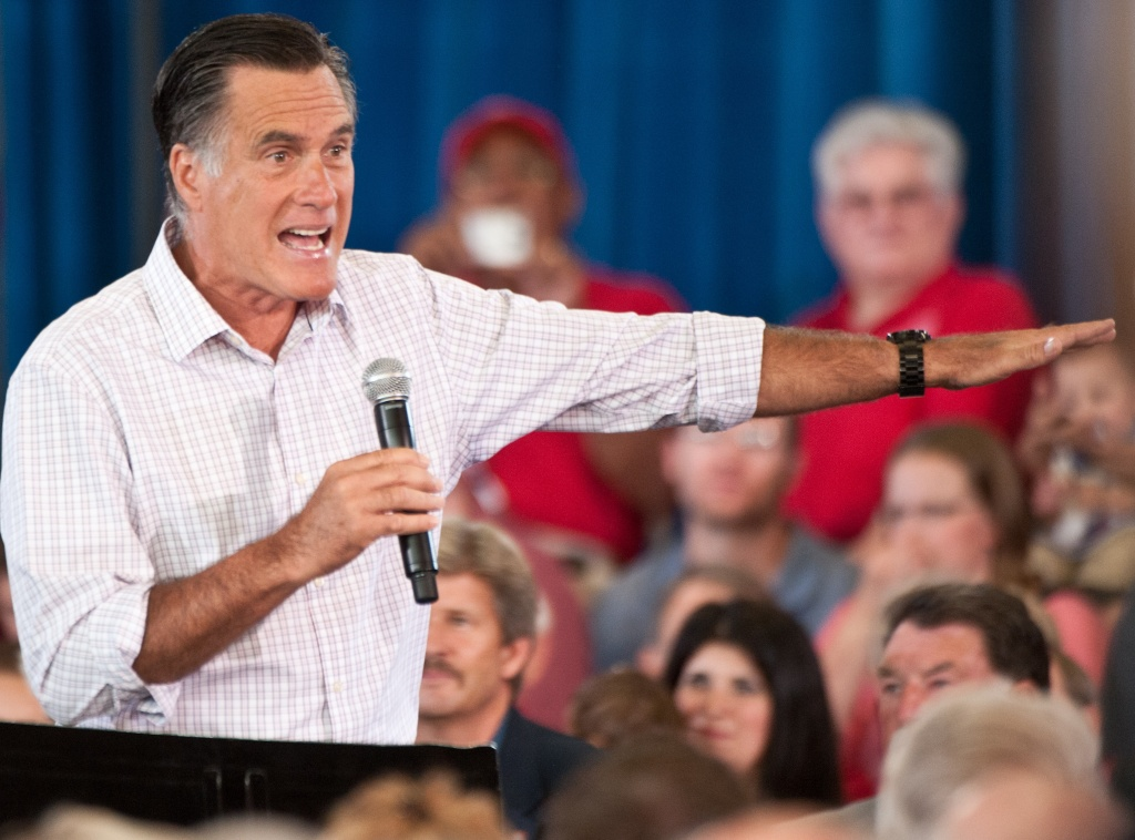 S Republican presidential candidate Mitt Romney speaks at a town hall meeting at Central High School in Grand Junction, Colorado, on July 10, 2012.