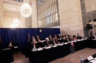 Members of the House Transportation and Infrastructure Committee, New York City Mayor Mike Bloomberg, former Pennsylvania Gov. Ed Rendell, and others meet in Grand Central Terminal for a hearing about high-speed rail networks.