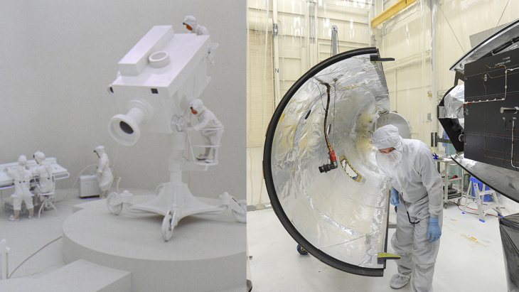 Preparing NASA's Next Solar Satellite for Launch: Orbital Sciences team members move the second half of the payload fairing before it is placed over NASA's IRIS (Interface Region Imaging Spectrograph) spacecraft. The fairing connects to the nose of the Orbital Sciences Pegasus XL rocket that will lift the solar observatory into orbit.