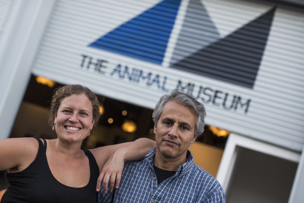 Co-Founder and Executive Director Carolyn Merino Mullin, left, and Art Director Rafael Perea de la Cabada stand outside at The Animal Museum in the Arts District on Monday, Nov. 14, 2016. Mullin founded the museum in 2010. It started as an online and mobile museum.