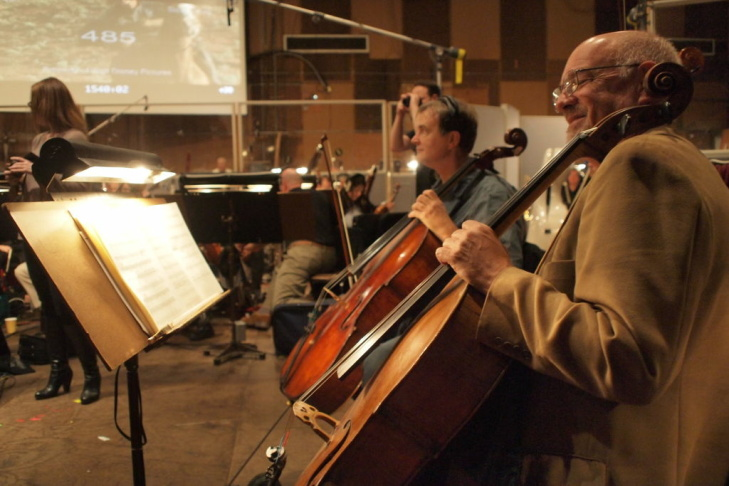 Cellists John Carer Soundtrack taping