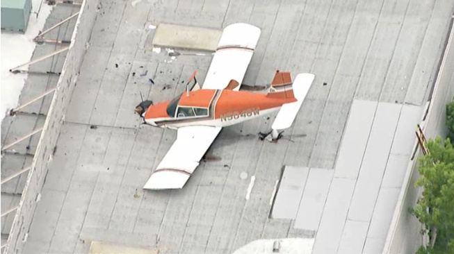 Screenshot of the plane that crash-landed on the roof of a Pomona office building on May 8, 2016. The pilot reportedly radioed he was having trouble while inbound to nearby Brackett Field airport in LaVerne—about three miles away.