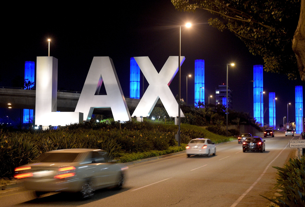 Los Angeles International Airport is seen during National Landmarks Illuminated Across U.S.