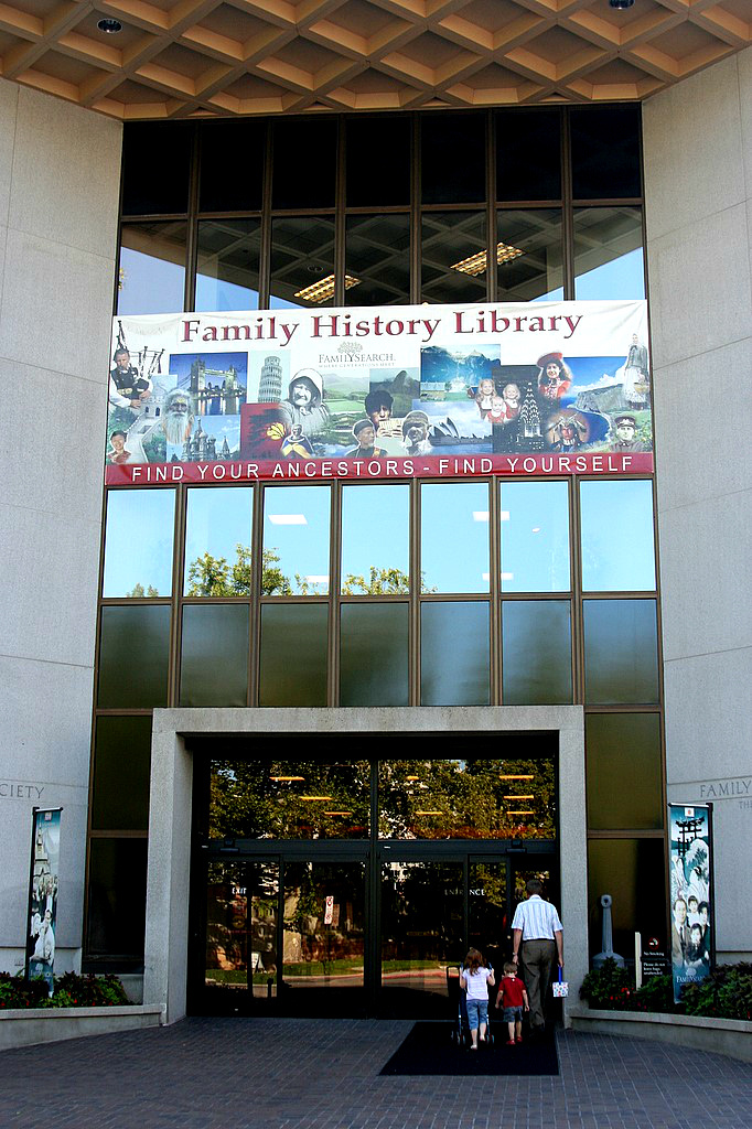 The Family History Library in Salt Lake City, UT, a genealogical research center, where the records of Mormons and non-Mormons are stored for eventual baptism, 2008.