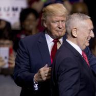 President Trump announces retired Marine Corps Gen. James Mattis as his choice for defense secretary, on Dec. 6 in Fayetteville, N.C. Trump, who was highly critical of Barack Obama's military and foreign policies during the presidential campaign, inherits a number of challenges.