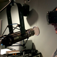 A Martinez watches a virtual reality video created by Matter VR on an Oculus headset.