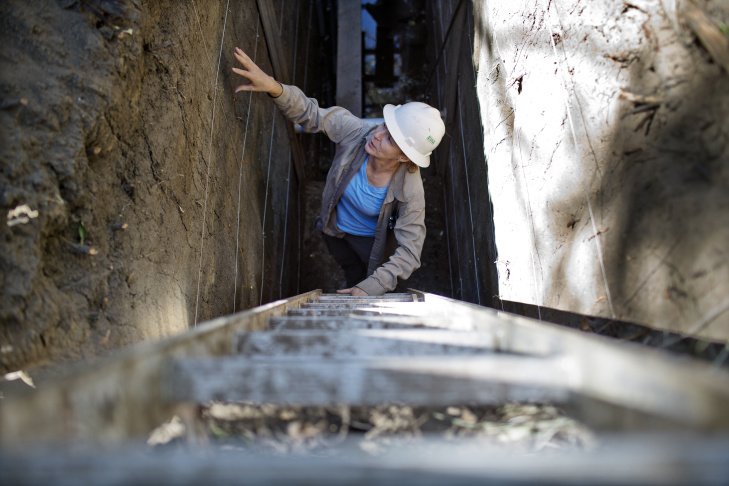 Kate Scharer is a research geologist for the U.S. Geological Survey. She digs trenches to look for evidence of fault activity.