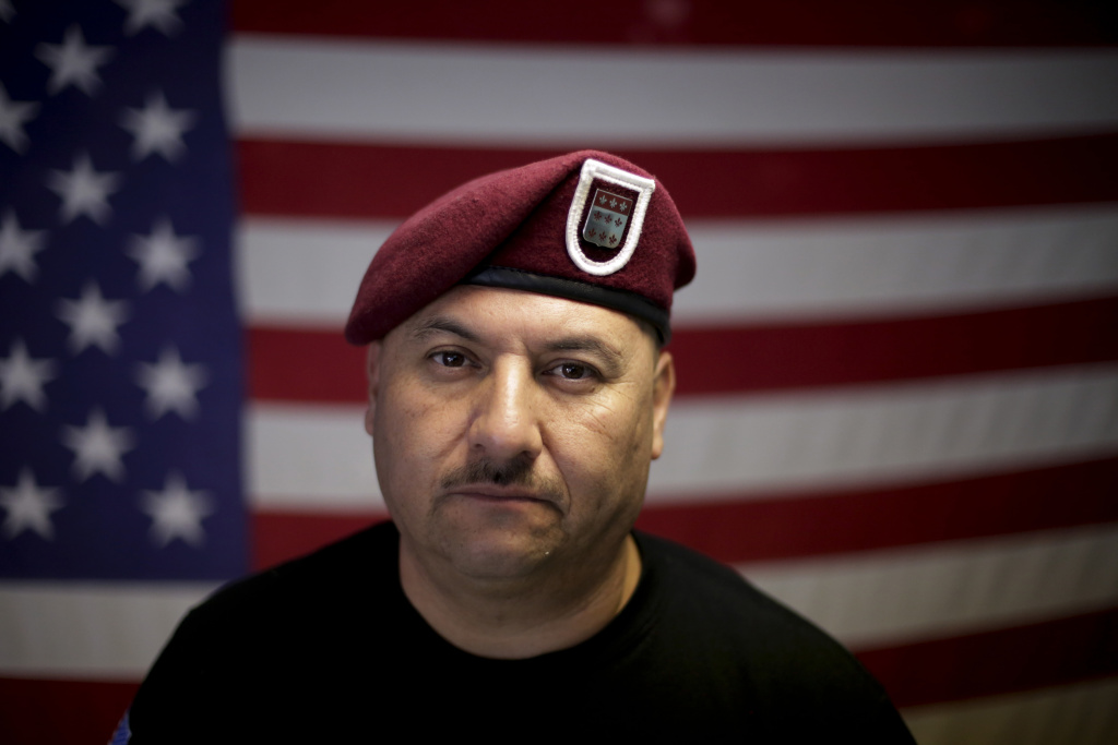 "In this Feb. 13, 2017 photo, U.S. Army veteran Hector Barajas, who was deported, poses for a portrait in his office at the Deported Veterans Support House, nicknamed ""the bunker"" in Tijuana, Mexico."