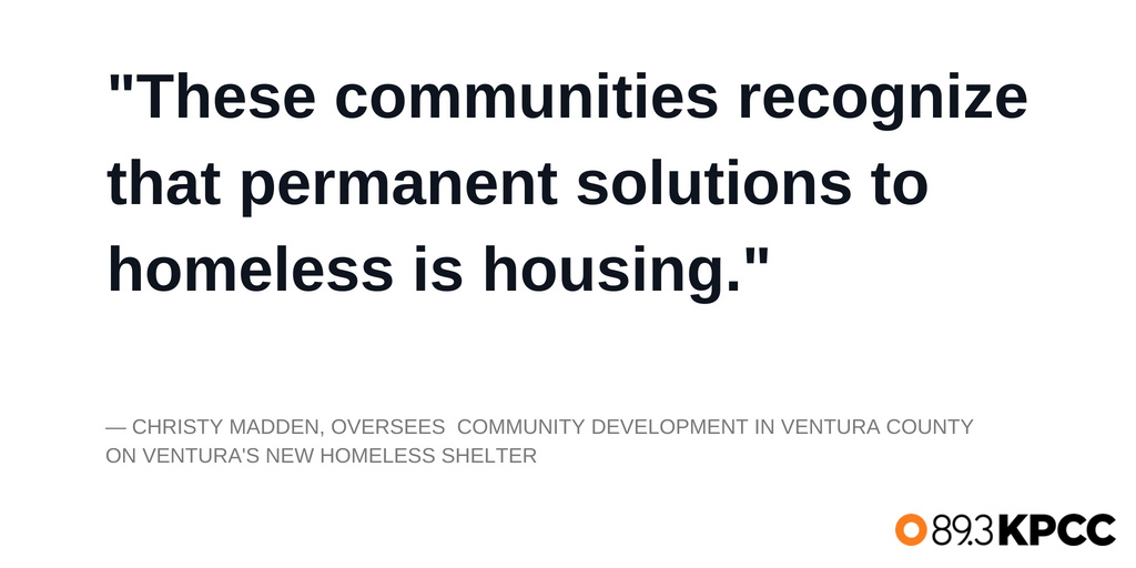 Christy Madden who oversees community development in Ventura County on Ventura's new homeless shelter.