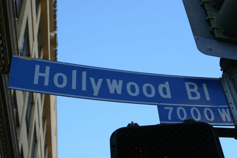 File photo of Hollywood Boulevard street sign.