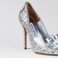 "The ""Cinderella Slipper"" by Jimmy Choo is one of the many merchandise tie-ins to the new live action film by Disney. The pair retails for $4,595."