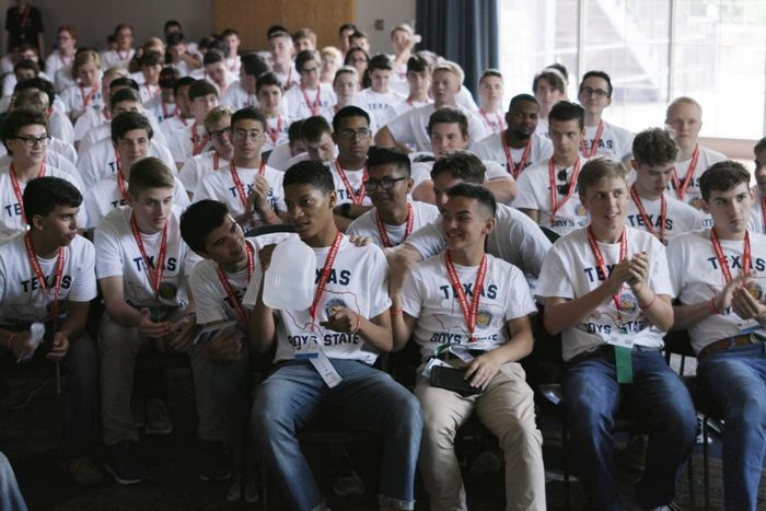 Teenagers participating in the Texas Boys State 2018 in