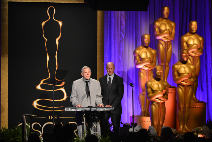Honorary Award recipient Hal Needham (C) speaks at the 85th Academy Awards Nominations Luncheon at The Beverly Hilton Hotel on February 4, 2013 in Beverly Hills.