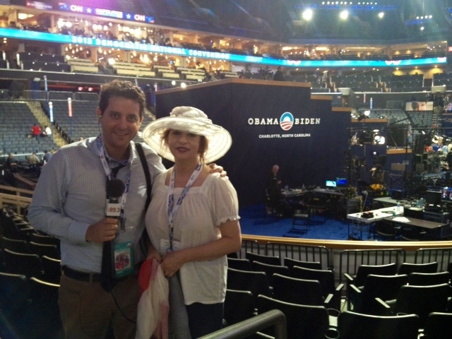 Patt Morrison and Ben Gleib getting ready for this year's DNC in Charlotte, North Carloina.