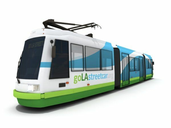 This is a rendering of the streetcar planned for downtown Los Angeles. (Image from Los Angeles Streetcar Inc.)